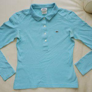 Light blue Lacoste long sleeve polo shirt